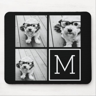 Black and White Trendy Photo Collage with Monogram Mouse Pad