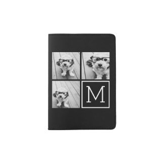 Black and White Trendy Photo Collage with Monogram Passport Holder