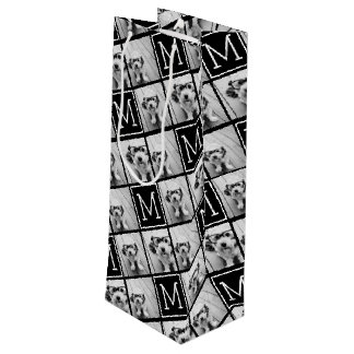 Black and White Trendy Photo Collage with Monogram Wine Gift Bag