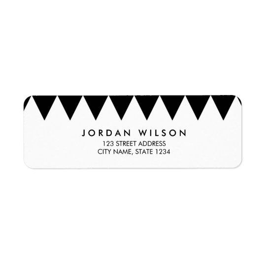 Black and White Triangle Pattern Modern Address Return Address Label