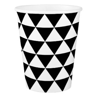 Black and White Triangle Pattern Paper Cup
