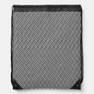 Black and white triangles pattern drawstring bag