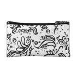 Black and white tribal abstract swirls cosmetic bag