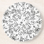 Black and white tribal abstract swirls beverage coaster