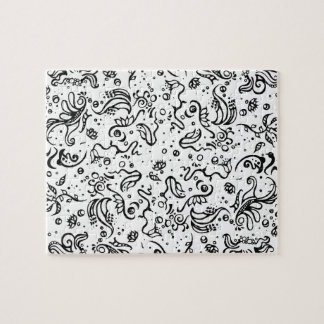 Black and white tribal abstract swirls jigsaw puzzle