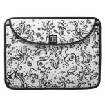 Black and white tribal abstract swirls MacBook pro sleeves