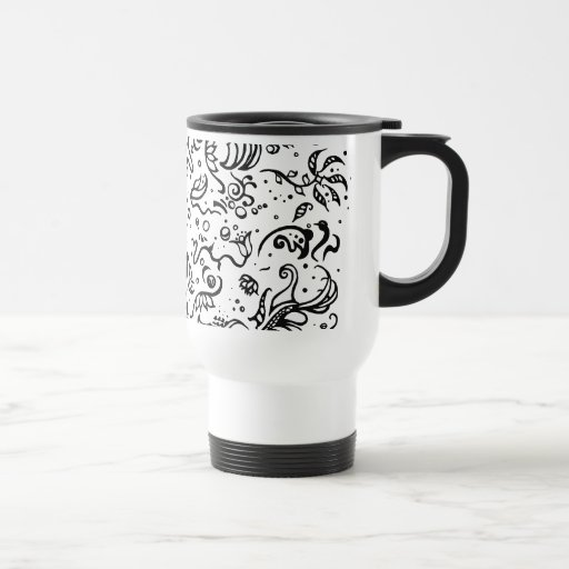 Black and white tribal abstract swirls coffee mug