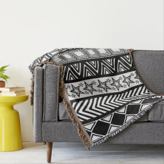 Black And White Tribal Art Pattern Throw Blanket