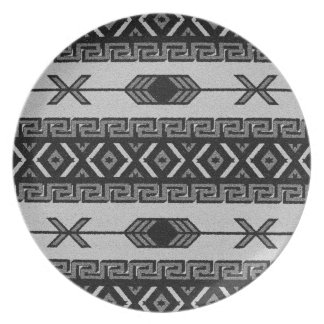 Black And White Tribal Aztec Pattern Southwest Party Plates