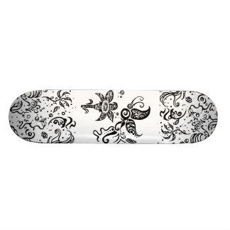 Black and white tribal butterfly 21.3 cm mini skateboard deck