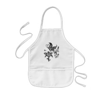Black and white tribal butterfly kids apron