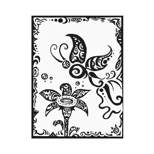 Black and white tribal butterfly canvas print