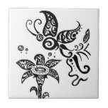 Black and white tribal butterfly ceramic tile