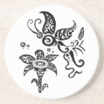 Black and white tribal butterfly coasters