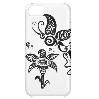 Black and white tribal butterfly iPhone 5C case