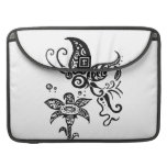 Black and white tribal butterfly MacBook pro sleeve