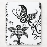 Black and white tribal butterfly mouse pad