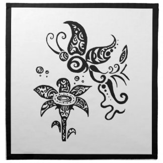 Black and white tribal butterfly napkin