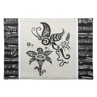 Black and white tribal butterfly placemat