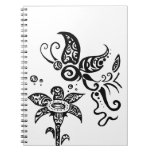 Black and white tribal butterfly spiral notebook