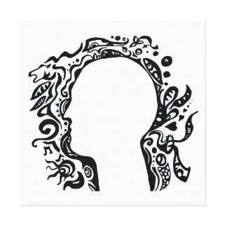 Black and white Tribal head - Imagination Stretched Canvas Prints