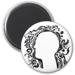 Black and white Tribal head Refrigerator Magnet
