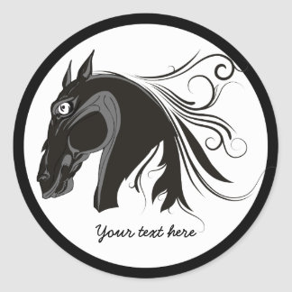 Black and white tribal horse head custom sticker