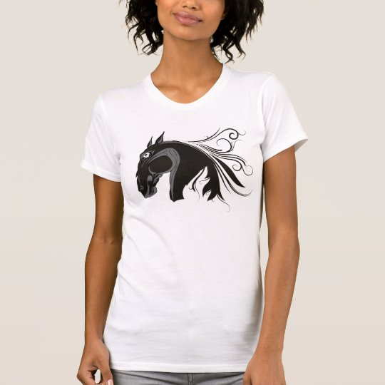 Black and white tribal horse head custom t-shirts