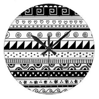 Black and white Tribal pattern Large Clock