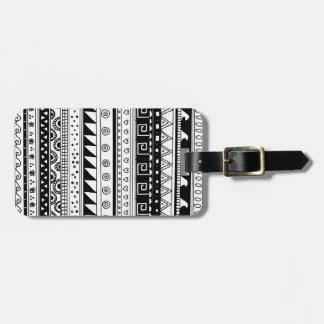 Black and white Tribal pattern Luggage Tag
