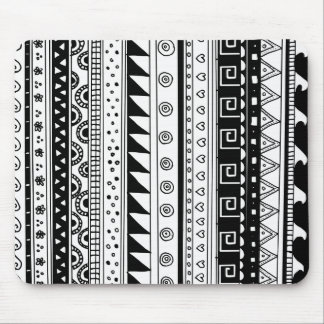 Black and white Tribal pattern Mouse Mat