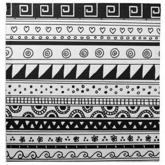 Black and white Tribal pattern Napkin