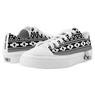 Black and White Tribal Pattern Personalized Printed Shoes