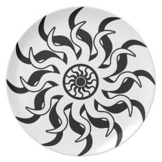 Black And White Tribal Sun Southwest Party Plates