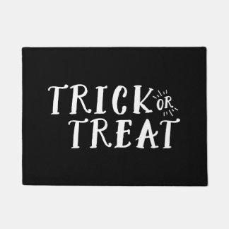 Black and White Trick or Treat Halloween Door Mat