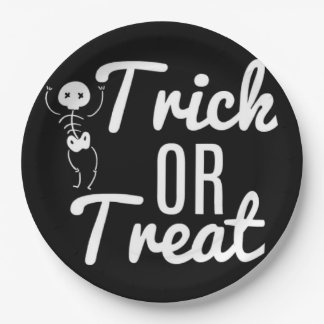 Black And White Trick Or Treat Skeleton Paper Plate