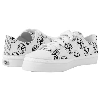 Black and White Triskelion or Triskele Low Tops
