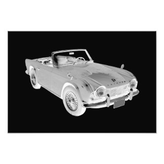 Black And White Triumph Tr4  Sports Car Photo Print