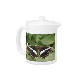 Black and White Tropical Butterfly Teapot