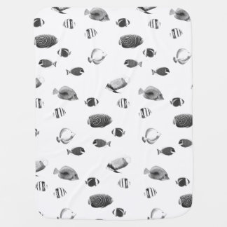 Black and white tropical fishes baby blanket