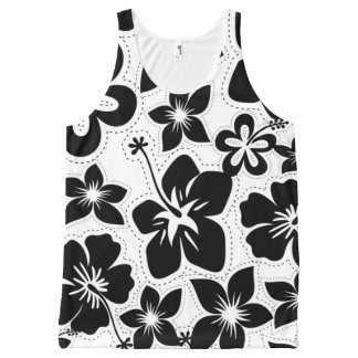 Black and White Tropical Hawaiian Luau Hibiscus All-Over Print Tank Top