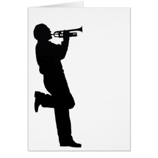 Black and White Trumpet Jazz Musician Card