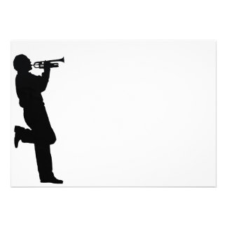 Black and White Trumpet Jazz Musician Announcements