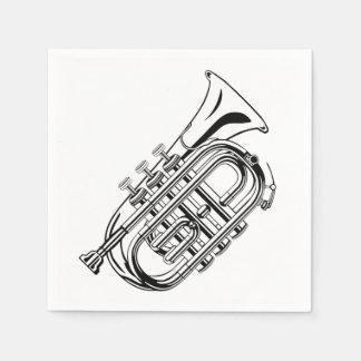 Black and White Trumpet Sketch Musical Instrument Paper Serviettes