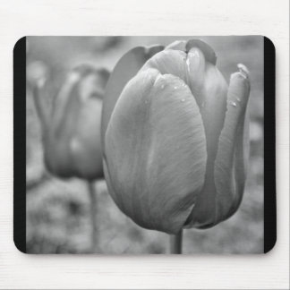 Black and White Tulips Mouse Pads