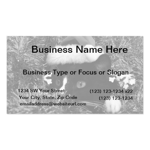 Black and white tuxedo cat christmas hat tinsel bw business card templates