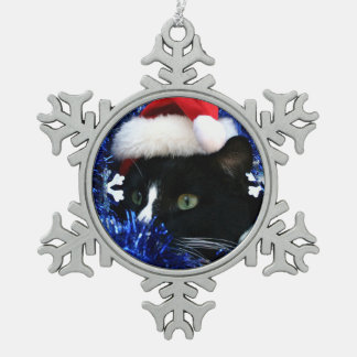 Black and white tuxedo cat christmas hat tinsel pewter snowflake decoration
