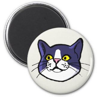 Black and White Tuxedo Cat Drawing Fridge Magnet