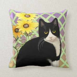 Black and White Tuxedo Cat in the Garden Cushion