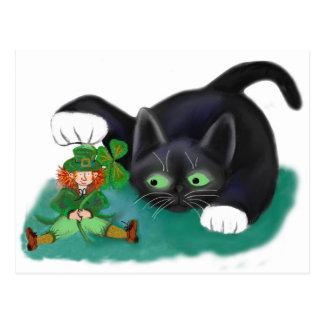 Black and White Tuxedo Kitten Tags his Leprechaun Postcard